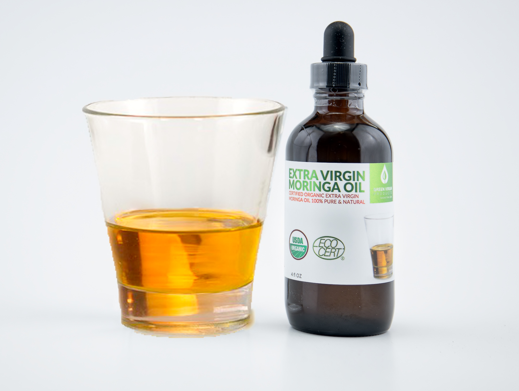 Moringa Oil, 100% Pure, in a 4 Ounce Glass Bottle With Dropper